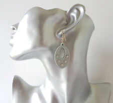 Pretty 4cm long grey & black acrylic & diamante - crystal oval drop earrings