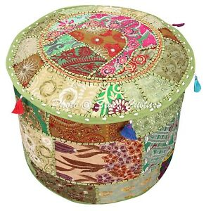 """Indian Round Pouffe Cover Seat Green Patchwork Cotton 18"""" Embroidered Ottoman"""