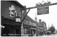 Waltham Cross Four Swans Hotel Pub unused RP old postcard Bell series Good