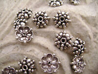 REAL .925 Antiqued Sterling Silver Bead Caps for 6-10mm Beads, Flower, 1 Qty