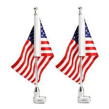 2Pcs Motorcycle American USA Flag Pole Rack Mount For Honda Goldwing Harley 1200