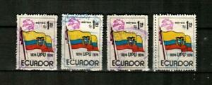 ECUADOR Scott's C534 ( 4v ) UPU Emblem, Ecuadorian Flag F/VF Used ( 1974 )