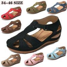 Женские сандалии на платформе летние дамы круглый носок крюк петля повседневная обувь