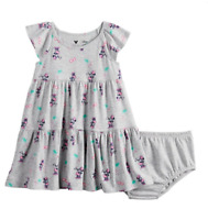 Disney's Minnie Mouse Baby Girl Print Tiered Dress 18 Mo Grey Pink NWT $24
