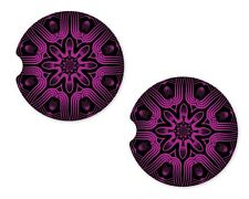Mandala Purple Rubber Car Coasters For Drink Absorbent Car Cup Holder   SET OF 2