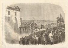 1862 ANTIQUE PRINT-FATAL ACCIDENT AT NEW HARTLEY COLLIERY-REMOVAL OF THE COFFINS