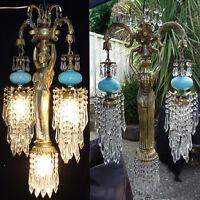 1 Vintage Spelter brass hanging lamp Greek Lady Chandelier Aqua glass fountain