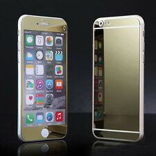 Gold Front & Back Mirror Tempered Glass Film Screen Protector For iPhone 6 6s