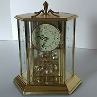 VTG Elgin Quartz Anniversary Mantle Gold Tone And Glass Clock Made In Germany