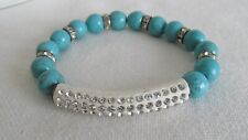 Awesome Turquoise Color Stone And Rhinestones Stretch Bracelet #Q