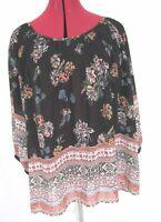 Knox Rose ¾ Sleeve Black Floral Printed Sheer Top Size M