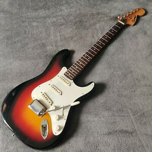 Vintage 70s Columbus Japan Strat Stratocaster Style Guitar Sunburst Relic