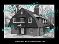 OLD LARGE HISTORIC PHOTO TORONTO CANADA THE DON MILLS POLICE STATION c1950