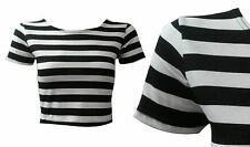 Scoop Neck Cap Sleeve Striped Tops & Shirts for Women