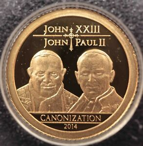 Tanzania 1500 Shillings 2014 Canonization Pope John Paul 0.5 gr 999 Gold [470