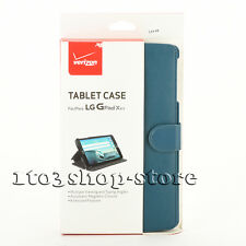 Verizon Folio PU Leather Stand Hard Cover Case for LG G PAD X8.3 Dark Blue NEW