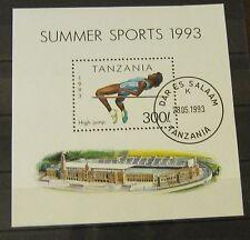 Briefmarken Tansania 1993 Block 212 Hochsprung Leichtathletik Gummiert