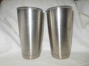 2 ~Yeti Rambler 20 Oz Tumbler Insulated Glass Stainless Steel Silver W/ Lids
