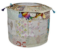 "18"" White Vintage Indian Ottoman Pouf Cover Patchwork Footstool Home Decor Cover"