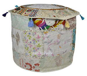 """18"""" White Vintage Indian Ottoman Pouf Cover Patchwork Footstool Home Decor Cover"""