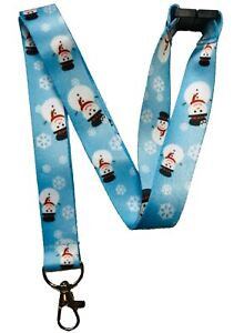 Festive Snowman Christmas Neck Lanyard With Safety Breakaway