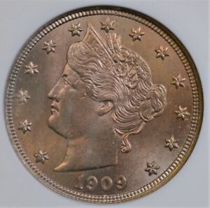 """1909 LIBERTY """"V"""" NICKEL SMALL WHITE ANACS MS 64 GORGEOUS ROSE GOLD LUSTER"""
