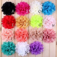 10PCS Eyelet Silk Fabric Flowers For Baby Headbands DIY Hair Accessories Craft