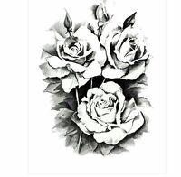 Black Roses Flower Temporary Tattoos Stickers Body 3D Rose Tatoo Waterproof