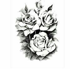 Black Roses Flor tatuajes temporales adhesivos cuerpo 3D Rosa Tatoo Impermeable
