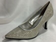 FIONI Night Silver Womens 7.5 Med Pointed Toe Pumps Heels Sparkle Shoes Metallic