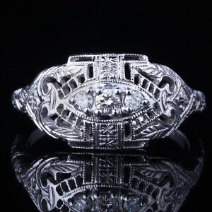 Vintage Unique 10K White Gold 3 Stone Full Cut Diamonds Engagement Wedding Ring