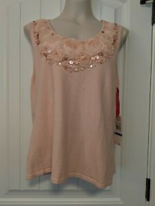 RUBY RD Size XL Top Tank Shell Blouse Pink Shell Game Stretch Embellishments $54