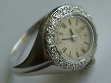 14k solid white gold and diamond Omega ring watch