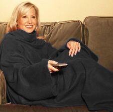 Snuggle Fleece Blanket Wrap Throw Travel Plush Fabric With Sleeves Cozy - Black