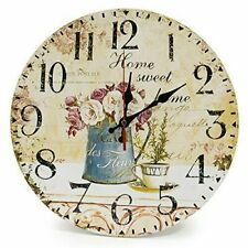 Lohas Home 12 Inch Silent Vintage Design Wooden Round Wall Clock Arabic