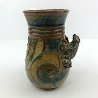 Studio Art Handthrown Pottery Vase With Frog Figure Blue Brown Glaze Signed