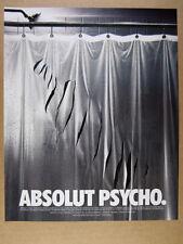 1997 Absolut PSYCHO slashed shower curtain photo vintage print Ad