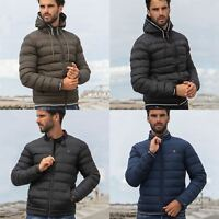Mens Quilted Jacket Zip Up Bubble Coat Plain Padded Puffer Winter Warm Coats