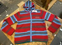 Le Tigre Hoody Sweater striped 80's Style Men's Red Blue knit Zip New w Tags