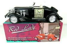 Black Red Lady Forties Car Alarm Clock w Roaring Engine Sounds