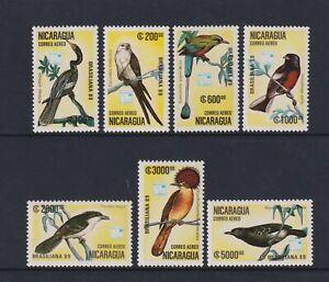 Nicaragua - 1989, Air. Brasiliana '89 Exhibition, Birds set - MNH - SG 3060/6