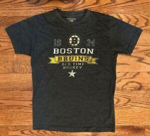 Boston Bruins Old Time Hockey NHL Short Sleeve Gray T-Shirt Men's Small