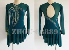 New Competition Ice Figure Skating Dress Deep Green Open Back Deep V Spandex