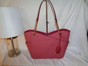 Michael Kors Jet Set Travel Large Chain Shoulder Tote Top Zip Handbag MK Berry