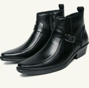 Mens Chelsea Shoes Ankle Boots Wedge Leather Slip-on Business Pointed Toe Buckle