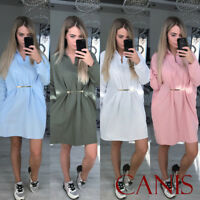 Women's Blouse Tops Long Sleeve T Shirt Casual Loose Party Mini Dress Plus Size