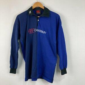 VINTAGE Canterbury Mens Polo Shirt Size M Medium Blue Long Sleeve Australia