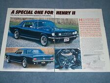 """1965 Mustang Coupe Hi-Po Article """"A Special One for Henry II"""" 1965"""