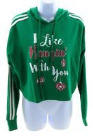 Queen Bees Christmas Hooded Crop Top Juniors Size Small Green Long Sleeve