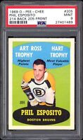 1969-70 O-Pee-Chee #205 Phil Esposito Error (#205 On Front #214 On Back) PSA 9++